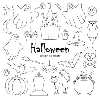 Halloweenowy zestaw ręcznie rysowanych elementów w stylu doodle