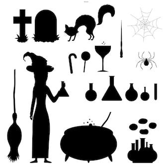 Halloweenowy zestaw sylwetek z czarownicą i jej tradycyjnymi atrybutami na białym tle. styl kreskówki. wektor.