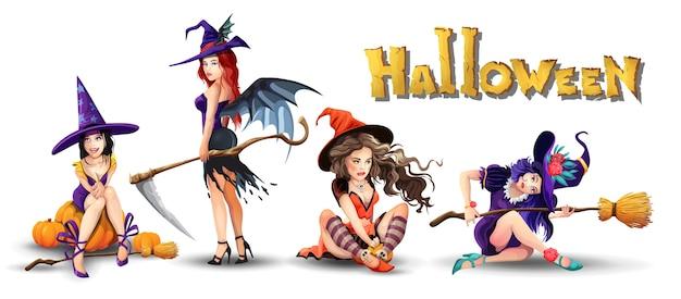 Halloweenowy zestaw z pięknymi czarownicami. zbiór różnych uroczych pięknych czarownic. dziewczyna siedzi, odpoczywa, myśli, uśmiecha się. na białym tle ilustracja w stylu cartoon