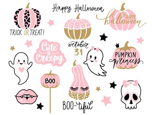 Halloweenowy zestaw z uroczymi elementami. kawaii dynia, duch kreskówek, usta wampira, cytaty z halloween. 31 października ilustracje dla dzieci.