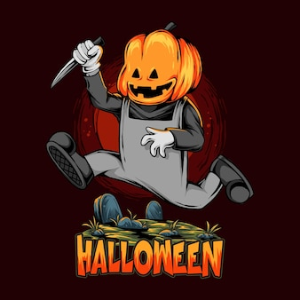 Halloweenowy zombie z głową dyni biegnący nad grobem z nożem kuchennym