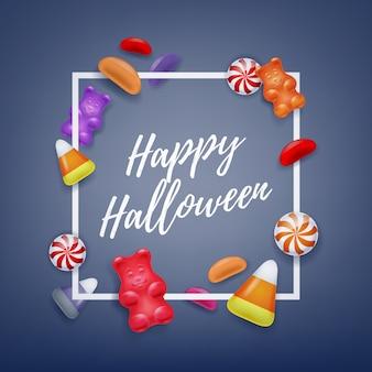 Halloweenowych cukierków kolorowy partyjny tło.