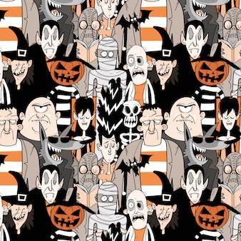 Halloweenowych potworów bezszwowy wzór