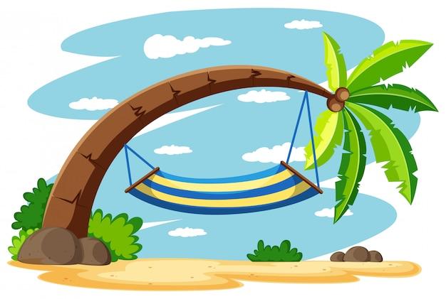 Hamak na drzewie kokosowym