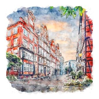 Hamburg niemcy akwarela szkic ręcznie rysowane ilustracja