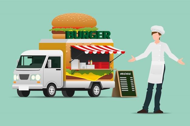 Hamburger ciężarówki z jedzeniem.