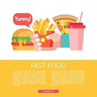 Hamburger, frytki, pizza i koktajl mleczny. fast food. pyszne jedzenie. ilustracja wektorowa w stylu płaski. zestaw popularnych dań typu fast food. ilustracja z miejscem na tekst.