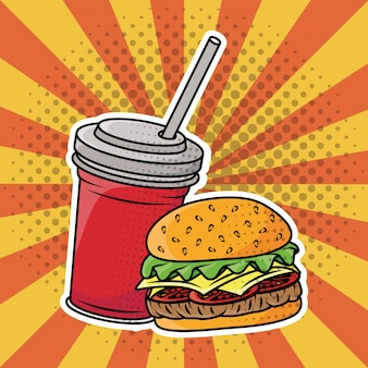 Hamburger i napoje gazowane w stylu pop-art