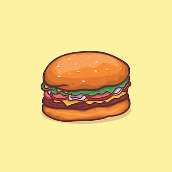 Hamburger ikona na białym tle ilustracja wektorowa z konturem kreskówki prosty kolor
