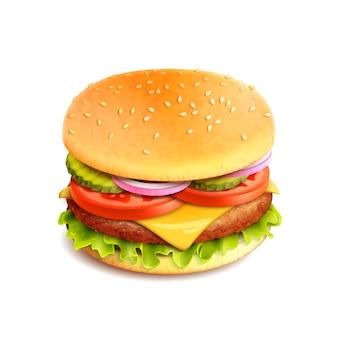 Hamburger realistyczny na białym tle