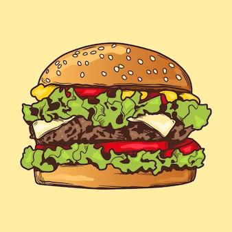 Hamburger szkic z kolorami ręcznie rysunek cheeseburger