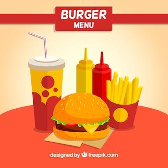 Hamburger tle w płaskim stylu