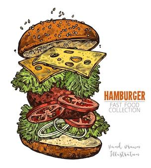 Hamburger z kotletem, surówką, serem, pomidorem i cebulą. bułka z sezamem.