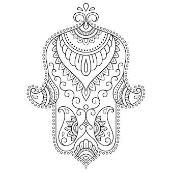 """Hamsa ręcznie rysowane symbol z kwiatem. dekoracyjny wzór w stylu orientalnym do dekoracji wnętrz i rysunków henną. starożytny znak """"ręki fatimy""""."""