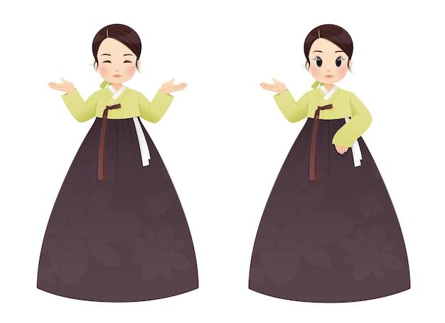 Hanbok dziewczyna koreański tradycyjny strój. azjatycka kobieta w hanboku. ilustracja wektorowa.