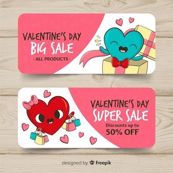 Hand drawn banner valentine's day sale