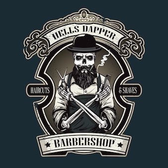 Hand drawn barber shop logo w stylu vintage