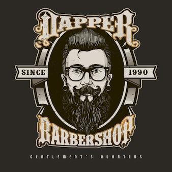 Hand drawn barber shop logo w stylu vintage