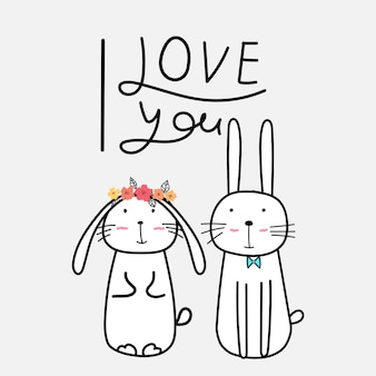 Hand drawn cute bunnies with say i love you.