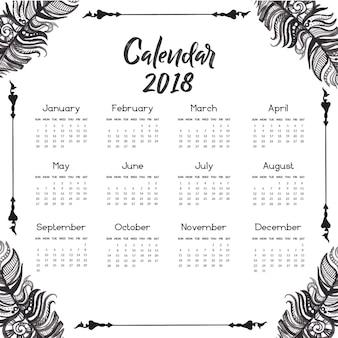 Hand drawn czarno-białe pióro kalendarza 2018