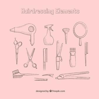 Hand drawn elementy fryzjerskie