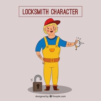 Hand drawn locksmith character