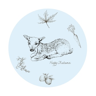 Hand drawn of fawn deer with autumn fruits and plants
