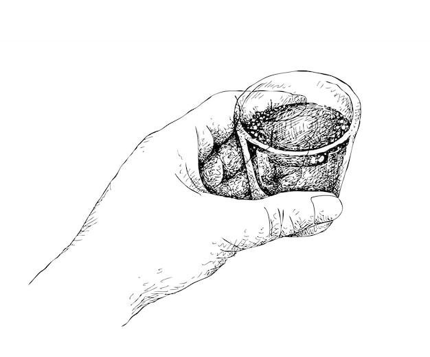 Hand drawn osoba trzymająca strzał whisky