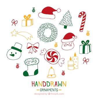 Hand drawn ozdoby świąteczne