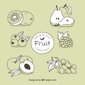 Hand drawn zestaw owoców