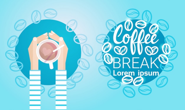 Hand hold cup tea coffee break morning beverage banner