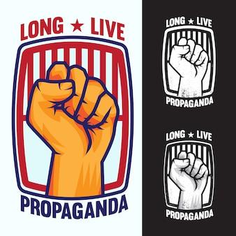 Hand up proletarian revolution propaganda - fist of revolution. ludzka ręka w górę logo.