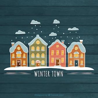 Hand wyciągnąć miasto zimą