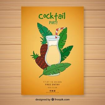 Hand wyci? gn ?? ananas koktajl strona broszura