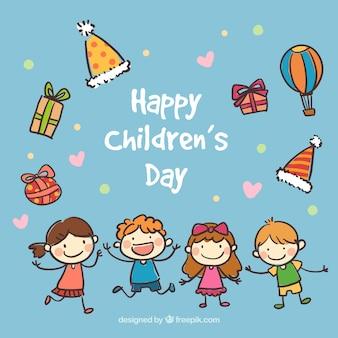 Hand wyciągnąć kartę dzień szczęśliwy dzieci