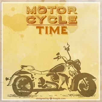 Hand wyciągnąć motocykl rocznika tle