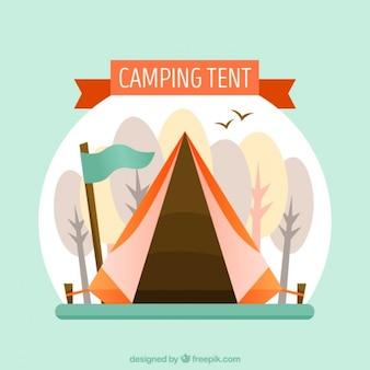 Hand wyciągnąć namiot camping z flagą