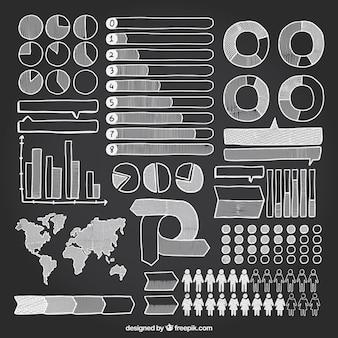 Hand wyciągnąć wiele elementów infographic