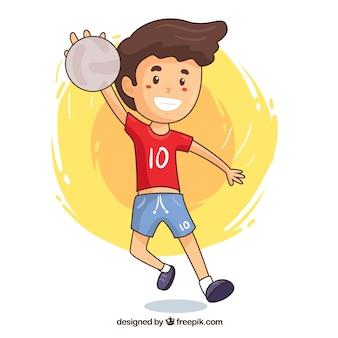 Handball gracz w ręka rysującym stylu