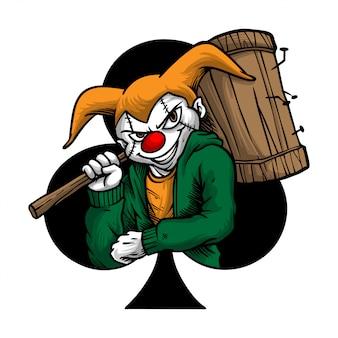 Handdrawing ilustracja straszny klaun