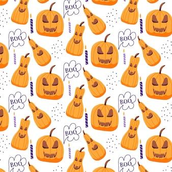 Handdrawn bezszwowy wzór z dyniami halloween niesamowity straszny wzór dyni