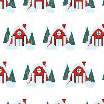 Handdrawn ilustracja domu nowy rok dom urządzony na boże narodzenie