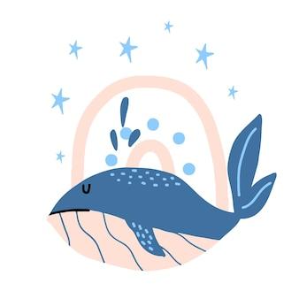 Handdrawn ilustracja wieloryba błękitnego wieloryba z tęczą i gwiazdami