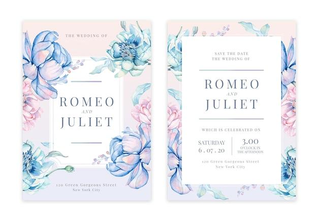 Handdrawn karta zaproszenie na ślub kwiatowy