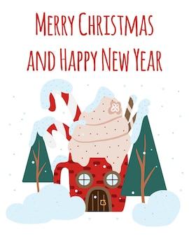 Handdrawn kartka świąteczna z domkiem udekorowanym na nowy rok pocztówka z zimowym domkiem