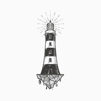Handdrawn rocznika latarnia morska