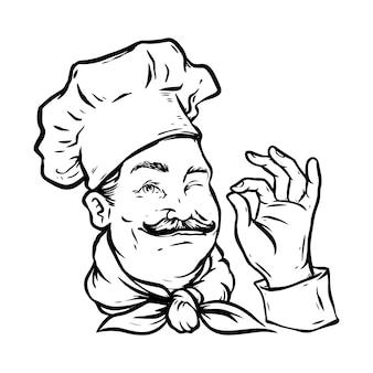 Handdrawn szef kuchni logo maskotka pyszna