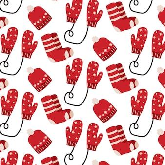 Handdrawn wzór z rękawiczkami skarpetki i kapelusz boże narodzenie wzór