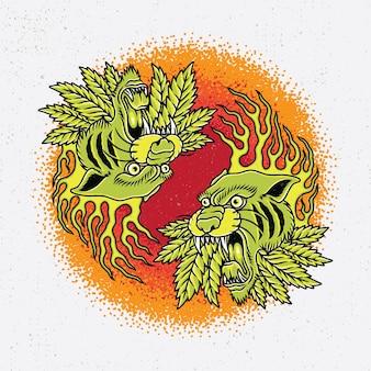 Handdrawn z dwóch tygrysich głowy ognia i liści marihuany w oldschoolowym stylu tatuażu