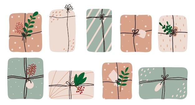 Handdrawn zestaw prezentów na święta zestaw świątecznych prezentów prezenty urodzinowe